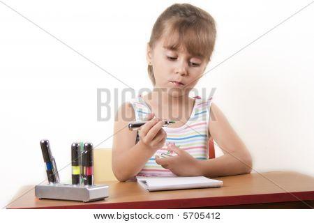 Beautiful Caucasian Girl Learning