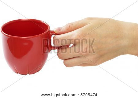 Little Red Tea Cup In Woman Hand (clipping Path)