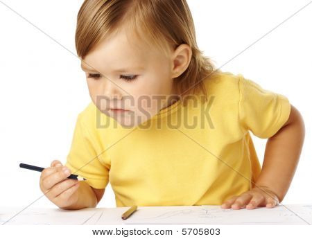 Child Half-rise From Table, Playing With Crayons