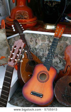Vintage Musical Instruments In A Fleamarket