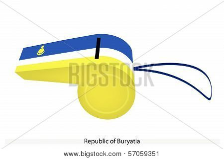 Blue, White And Yellow Stripe On Buryatia Whistle