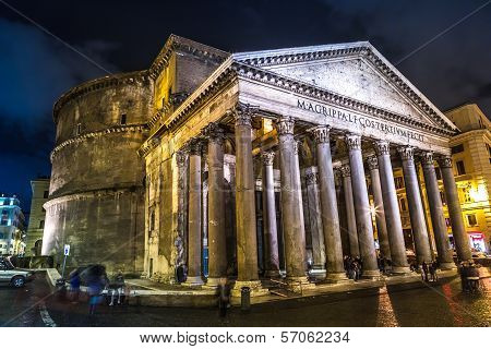 Pantheon At Night, Rome, Italy