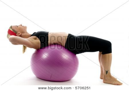 Illustration Sit Ups Strength Pose Middle Age Woman Fitness Core Ball