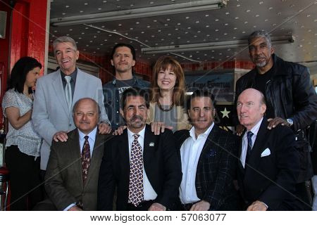Tom Dreesen, Clifton Collins Jr., Lee Purcel, Stan Shaw, Dennis Franz, Joe Mantegna, Andy Garcia, Ed Lauter at Joe Mantegna's induction into the Hollywood Walk Of Fame, Hollywood, CA, 04-29-11