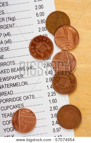 Pennies and Shopping List