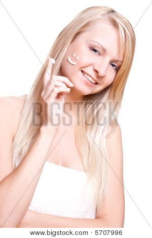 Beautiful Woman With Cream