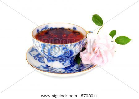 Rose And Blue Cup Of Tee.