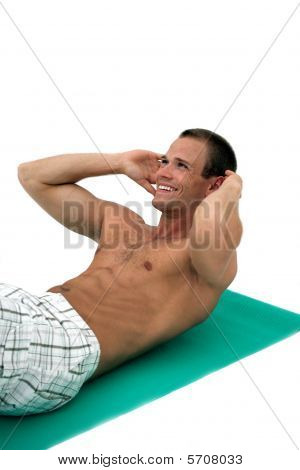 Happy Man Doing Situps