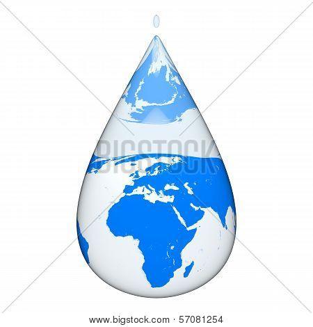 Earth Inside Water Drop