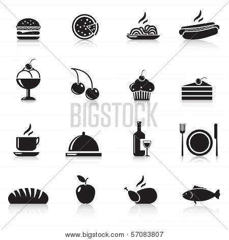 Icons Food: Chicken, Hamburger, Wine, A Plate