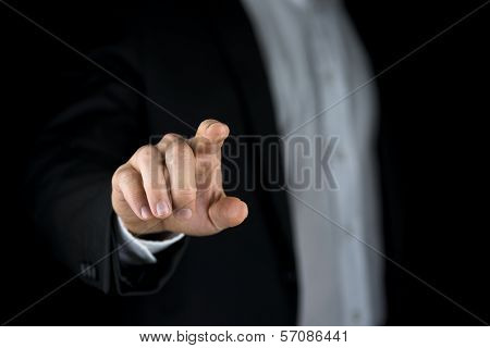 Man Touching A Virtual Interface With His Finger