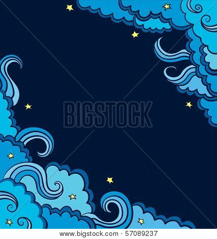 Vector Background With  Blue Clouds  On A Starry Sky.
