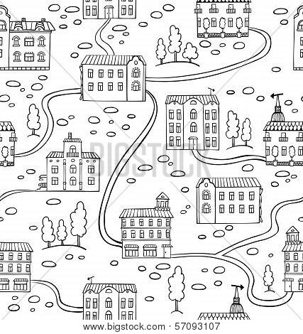 Vector Seamless Pattern With Houses And Trees.