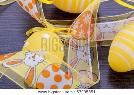Decorative Easter Eggs, On A Rustic Wooden Table