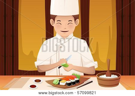 Sushi Chef Working In A Restaurant