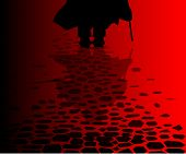 picture of serial killer  - the reflection of Jack the Ripper on the cobble streets of London - JPG