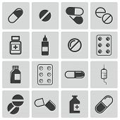 picture of antibiotics  - Vector black pills icon set on white background - JPG