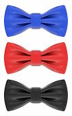 Blue, red and black bow ties