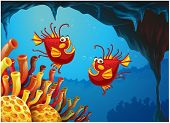 image of underworld  - Illustration of the two fishes under the sea near the coral reefs on a white background - JPG