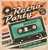 Retro party poster design mouse pad