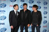 LOS ANGELES - JAN 14:  Ryan Seacrest, Harry Connick, Jr, Keith Urban at the American Idol Season 13