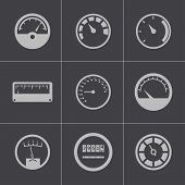 foto of meter  - Vector black meter icons set - JPG