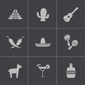 image of pinata  - Vector black mexico icons set - JPG