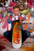 Boy Skateboard, Graffiti Wall