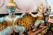 stock photo of hilltop  - Warrior statues guarding a stupa at hilltop Tiger Cave Temple  - JPG