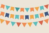 stock photo of ribbon decoration  - Three rows of vector party flags in pastel palette - JPG