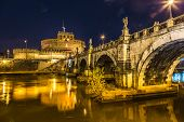 The Night View Of The Castle And Bridge Of Sant'angelo In Rome,italy