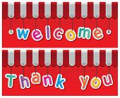 stock photo of awning  - storefront welcome and thank you signs hanging with awning - JPG