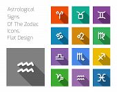 pic of pisces horoscope icon  - Zodiac Symbol icons on color background - JPG