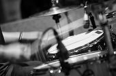 stock photo of drum-kit  - Drum set with focus on hi - JPG