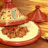 image of tagine  - terracoota tagine with wheat semolina and meatballs - JPG