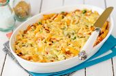 pic of pumpkin pie  - Macaroni Pumpkin Chicken and Cheese Pasta Bake in a White Ceramic Dish
