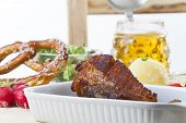 stock photo of beer-belly  - Bavarian roasted pork with dumplings and beer