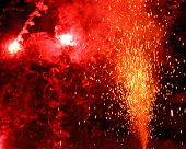 stock photo of magma  - huge explosion with fire in the night with sparks light fire blaze - JPG