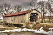 image of covered bridge  - The historic Mull Covered Bridge in rural northwest Ohio - JPG