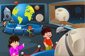 foto of planetarium  - A vector illustration of happy kids on field trip to a planetarium - JPG