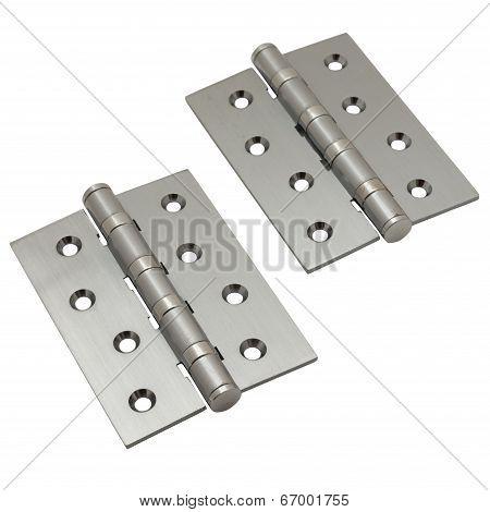 Brushed metal door hinges