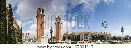 Venetian Towers In Placa De Espana, Barcelona