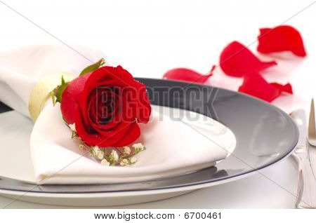Red Rose On A Dniner Plate