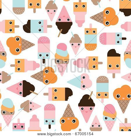 Seamless summer ice cream popsicle cute japanese style cartoon candy illustration background pattern in vector