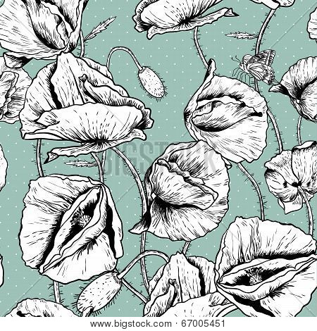 Monochrome Seamless floral background with poppy