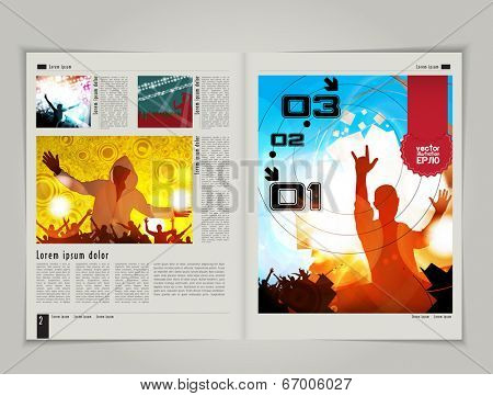 Magazine layout design. Editable vector