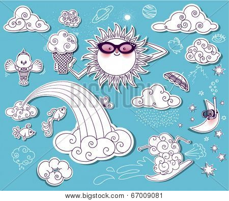 Summer Sky Doodles - Set of summery clip art images, including surfing cloud, scuba diving moon, bird in a swimsuit and sun with sunglasses and ice cream
