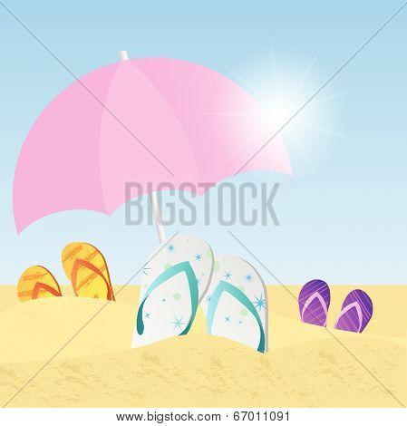 Beach with flip flops