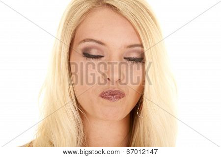Woman Blond Close Head Eyes Closed