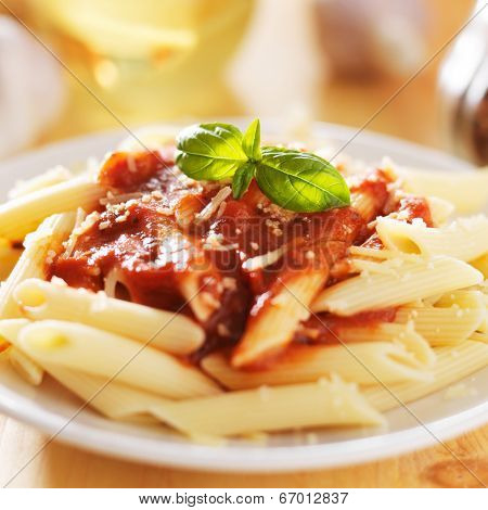 plate of italian penne pasta in tomato sauce